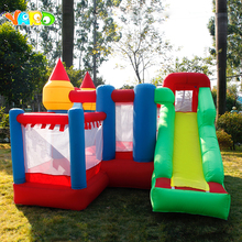 лучшая цена YARD Inflatable Jumping Castle with Slides Kids Free PE Balls Inflatable Trampoline Bouncers Christmas Gift Ship Door To Door