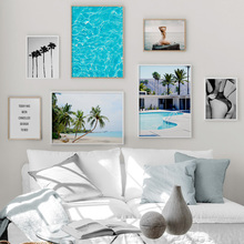 Sea Beach Palm Tree Girl Landscape Wall Art Canvas Painting Nordic Posters And Prints Decoration Pictures For Living Room Decor цена