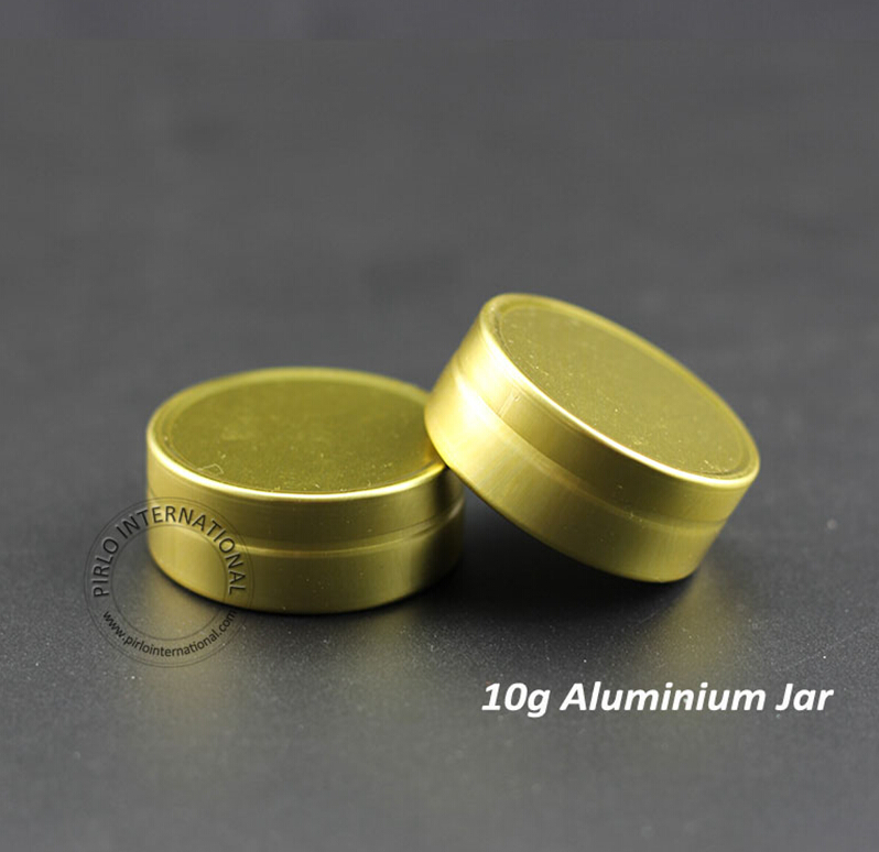 Wholesale 50pcs 10g Gram Aluminum Jars Empty Cosmetic Tins Case Refillable Metal Cream Container W/ Gold Cap Makeup Packaging