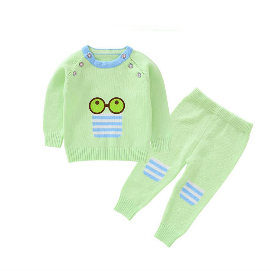 Sunglass Pattern Baby Girls Baby Boy Clothing Set Spring Autumn 6 Buttons Sweater Suit Newborn Infant Girl Sweaters 9 24Months