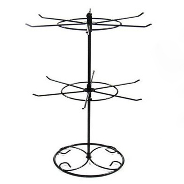 New Arrival DIY Install Double Tier Metal Rotating Jewelry Stand Earring Necklace Display Holes Storage Holder Rack BS