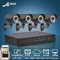 Plug And Play Onvif 4CH NVR Sistema de CCTV 2 TB HDD 1080 P HD H.264 Varifocal 2.8mm-12mm Câmera IP POE CCTV de Vigilância de Segurança Kit