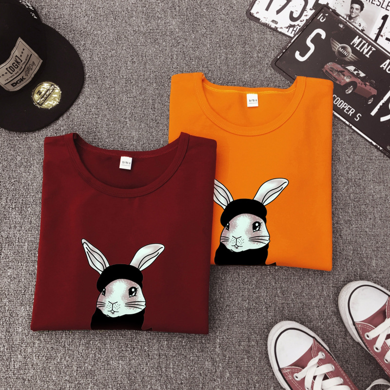 Cute Rabbit Print Women Tshirt High Quality Short Sleeve Round Neck Cotton Spandex Women Tops Casual Loose Women T-shirt 16