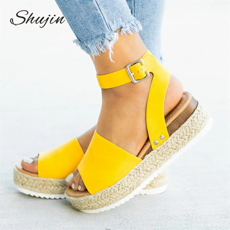 SHUJHIN Wedges Shoes For Women Size 42 Sandals High Heels Summer Shoes 2019  Flop Chaussures Femme Platform Sandals 2019(China)