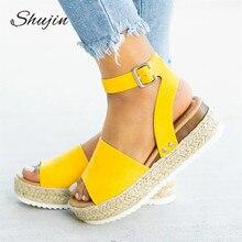 SHUJHIN/Женская обувь на танкетке; босоножки на высоком каблуке; Летняя обувь; коллекция года; флоп; chaussures femme; Босоножки на платформе для девочек; Большой размер 42