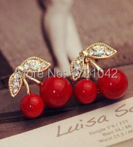 Elegante anéis de diamantes de imitação cereja hipoalergênico brincos jóias mulheres