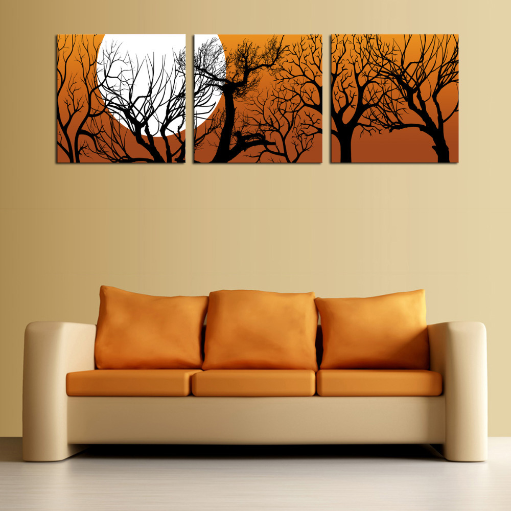 Unframed 3 sets Canvas Painting Moon And Trees Art Cheap Picture ...