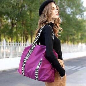 Image 3 - 2020 New bag Woman Travel Bag Black Pink Sequined Shoulder Bag Women Ladies Weekend Portable Travel Waterproof big Bag