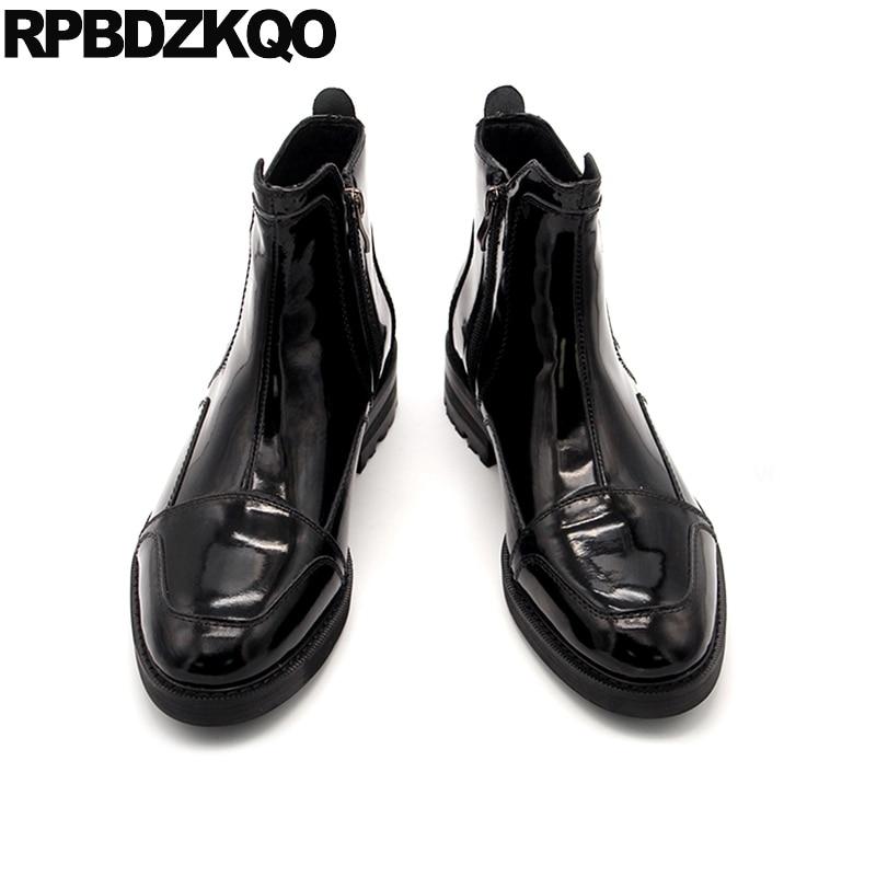 Qualität gold Schwarzes Stiefel Gold Designer Zipper Hohe Knöchel Full 2018 Grain Chunky Plus Party Leder Schuhe Stilvolle Männer Größe Schwarz Herbst Y4Wq0RFO