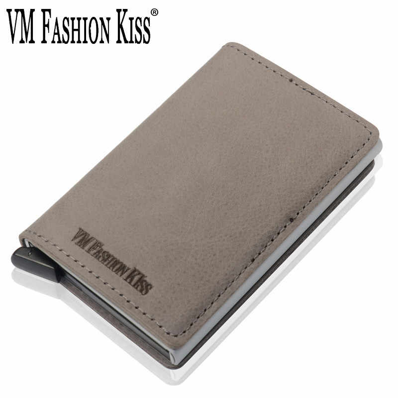VM FASHION KISS New Style Genuine Leather RFID Safe Mini Minimalist Wallet High Quality Business Casual Credit Card Holder Purse