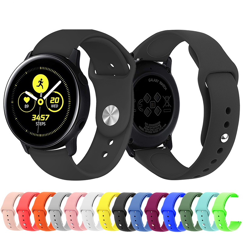 20mm 22mm Sport Silicone Band Strap For Samsung Galaxy Active Watch 42 46mm Band Gear S2 Class S3 Quick Release WatchBand