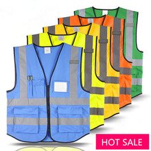 Free shipping Safety Clothing high visibility adult traffic reflective safety vest building worker fishing vest T002