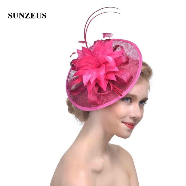 f491ebee Flowers Bridal Hats Feathers Linen Ladies Wedding Hats Women's Party Hair Accessories  Hats hochzeit hut SH38