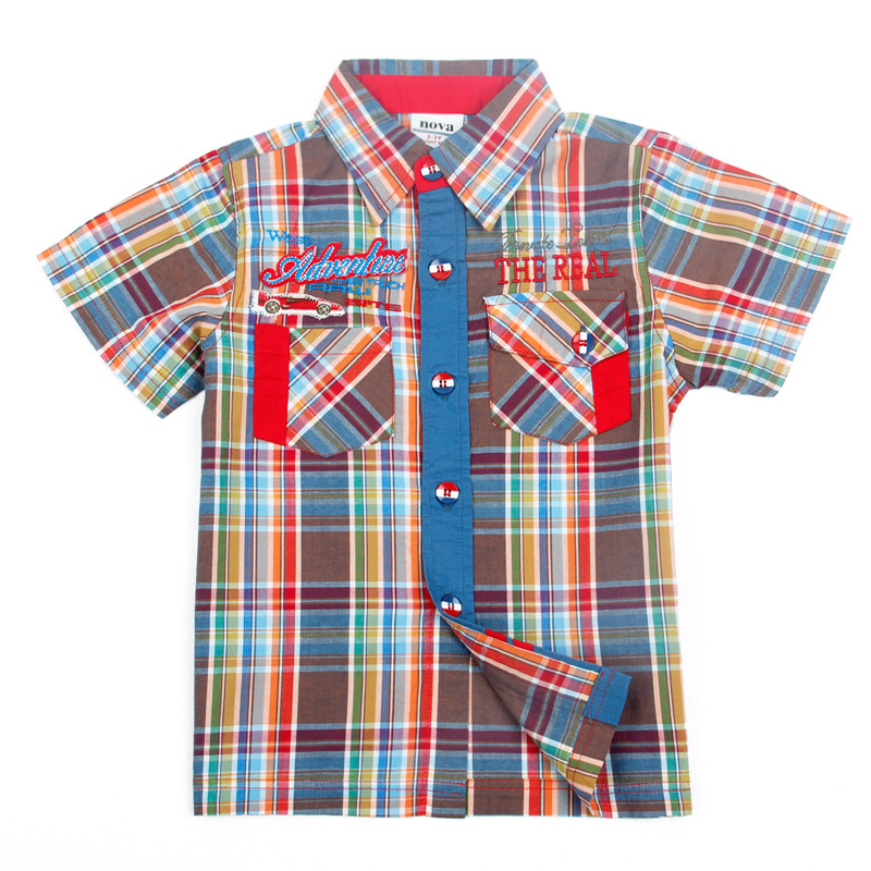 Boys t-shirts 2017 new children clothing nova kids clothing with pockets fashion plaid summer bobo choses boys t shirts C3813