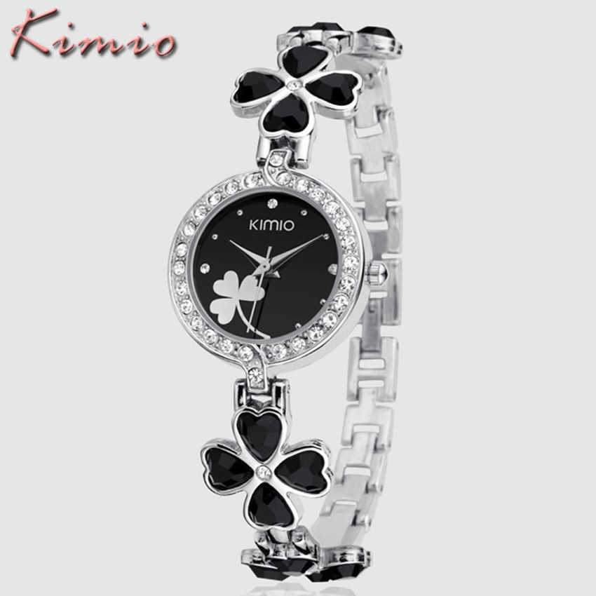 Relojes Mujer 2016 KIMIO Brand Fashion Women Watches Classic Stainless Steel Flower Bracelet Clock Quartz Watch Relogio Feminino brand kimio reloj mujer fashion women pearl bracelet watches crystal dial quartz watch gold women watches relogio feminino clock