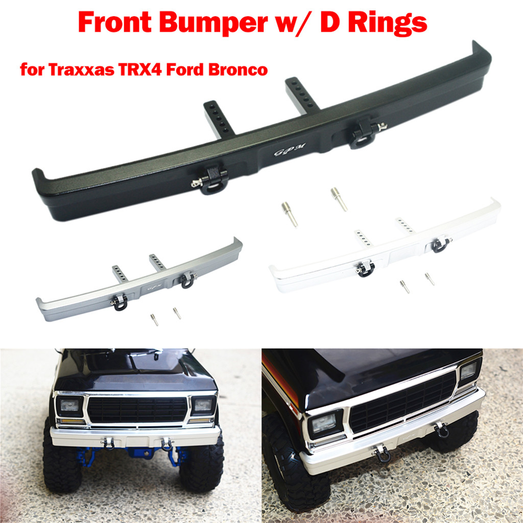 Metal Front Bumper w/ D Rings for Traxxas TRX4 Ford Bronco 1/10 RC Car Part Accessories Toys for Children