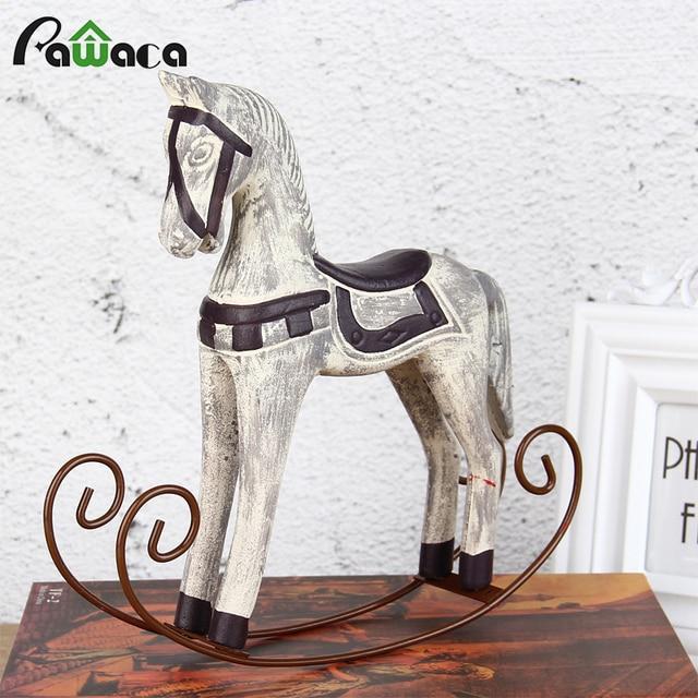 Vintage Style Wood Rocking Horse Animal Decoration Carving Craft White Figurines Home Decor Kids