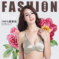 100% Silk bra Double Bra Steel Ring Free Ultra-thin Sponge Anti Bump Underwear