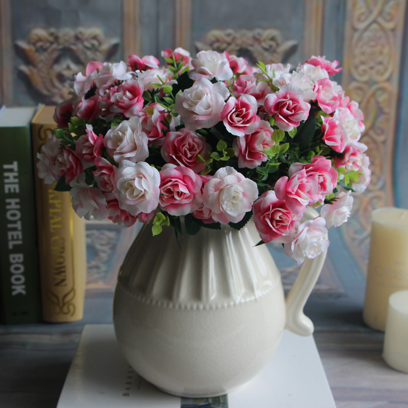 Bunch 15 heads Spring Fake Silk Flowers Bouquet Artificial Rose Bridal Floral Decor Plant Flower Arrangement