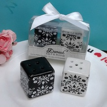 """(200pcs=100sets/Lot)FREE SHIPPING+Wedding&Bridal Shower Favors and Gift""""Damask""""Ceramic Salt & Pepper Shakers Kitchen Party Gift"""