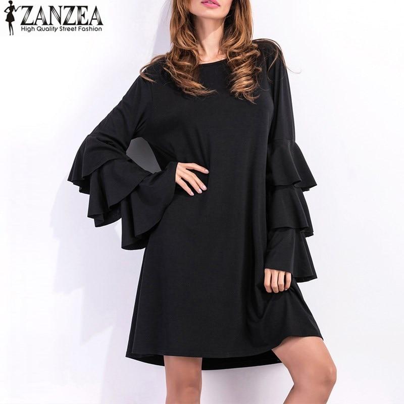 ZANZEA Womens Flounce Bell Sleeve Pleated Loose Casual Summer Short Mini Dress 2017 Plus Size