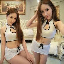 New sexy underwear white maid leaking back split cheongsam uniform temptation Sexy erotic babydoll  sex skirt