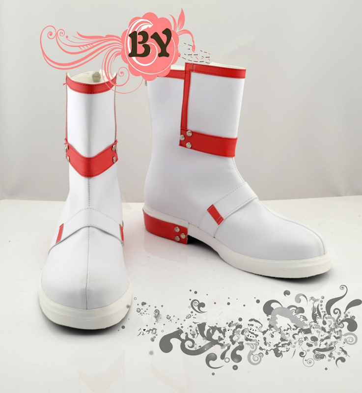 Anime Sword Art Online Kirito Cosplay Shoes White/Red Boots Any Size Free Shipping