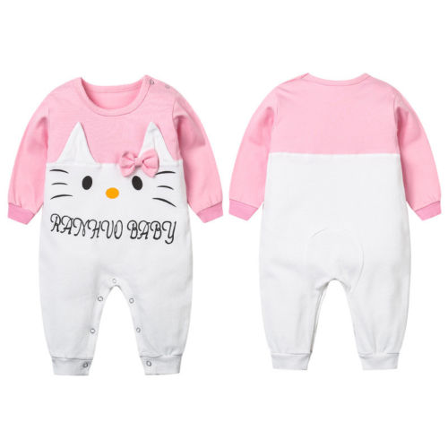 Baby Girl Toddler Long Sleeve Romper Rabbit Patchwork Cute Jumpsuit Clothes Outfits One Piece