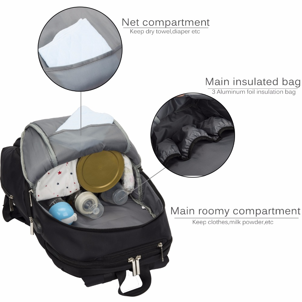 CoolBell Diaper Bag Large-Size Nappy Backpack Mummy Bag With Functional Insulated Pockets Baby Nappy Bag for Kids Baby Care
