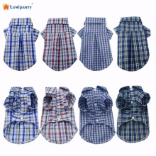 LumiParty Summer Puppy Pet Dog Cat Clothes Cotton T-shirt Plaid Shirt Lapel Jacket Vest Apparel Costume Sweater 25