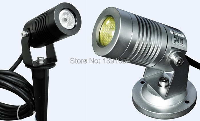 Outdoor IP65 3W CREE LED Garden Spot Light 12V 24V Landscape Lighting Round Spike Base Black / Silver Color 8pcs / lot DHL Freeship