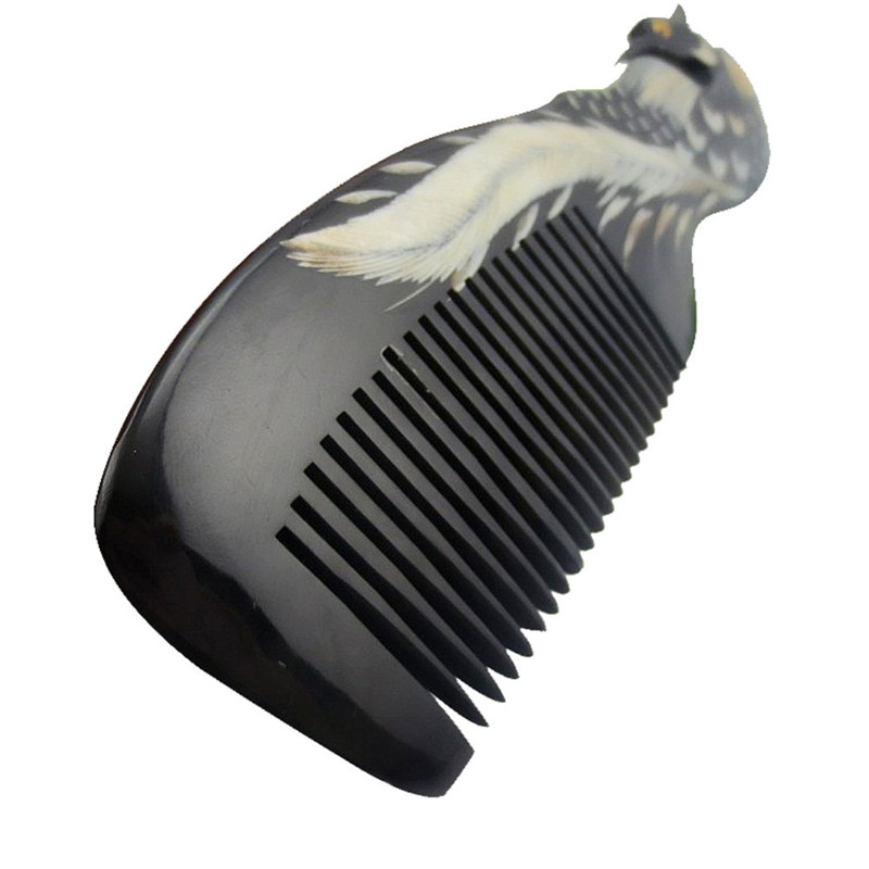 Female OX Horn Comb Hair Brush Peine Natural Massage Hand Carved Combs Healthy Hair Care Brushes Peineta Comb For Women