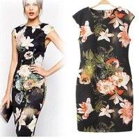 HOOYI 2017 Vestido de Verano de Las Mujeres más el tamaño Grande Floral oficina vestidos cheongsam Estilo de ropa barata de china Lápiz