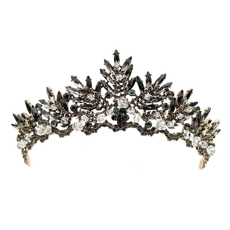 Vintage Baroque Black Crystal Beads Bridal Tiaras Rhinestone Diadem Pageant Crown For Brides Headbands Wedding Hair Accessories