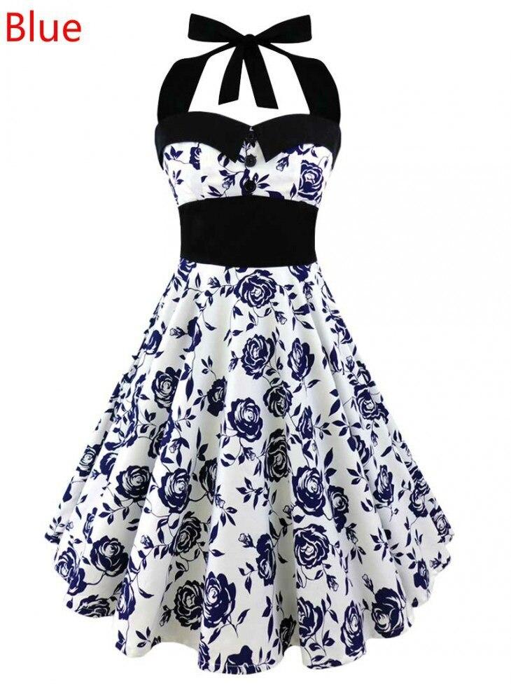5bdaa87dea242 Women Summer Dress 2017 plus size clothing Audrey hepburn Floral robe Retro  Swing Casual 50s Vintage Rockabilly Dresses dress