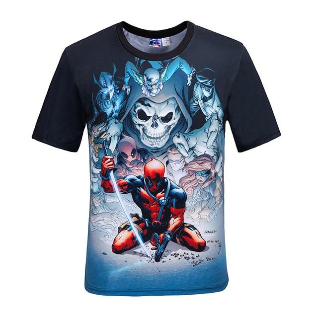 a57c4a4f1 Deadpool Bad Ass 3D Imprimir T-shirt Casual T Camisas de Algodão Marvel  Comics Engraçado
