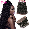 8A Brazilian Deep Curly Hair With Frontal Closure Ear To Ear Lace Frontal With Bundles Fast Deals Deep Wave Lace Frontal Closure