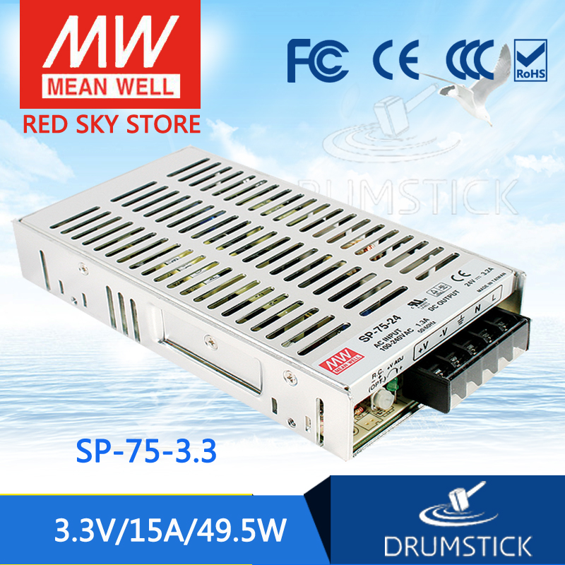 Hot sale MEAN WELL SP-75-3.3 3.3V 15A meanwell SP-75 3.3V 49.5W Single Output with PFC Function Power Supply leading products mean well sp 320 27 27v 11 7a meanwell sp 320 27v 315 9w single output with pfc function power supply