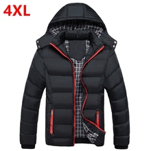 Autumn and winter with cotton padded coat stitching tide male Slim New mens jacket  Add fertilizer XL cotton Winter coat for men
