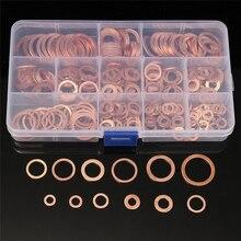 280 шт Твердые медные шайбы Медные уплотняющие шайбы уплотнительное кольцо набор с коробкой 12 размеров