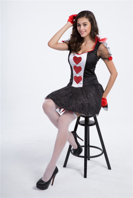 Heart Playing Cards Queen Cosplay Dress Las Vegas Casino