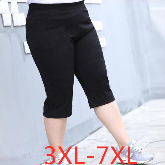 2019 summer plus size cropped shorts for women casual loose elastic waist large size womens capri black 3XL 4XL 5XL 6XL 7XL