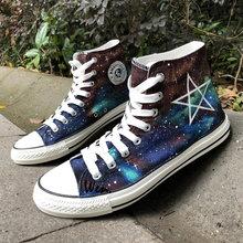 9317390bfd Wen Hand Painted Shoes Original Design Custom Galaxy Pentagram Nebula  Harajuku Men Women s High Top Canvas Sneakers