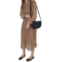 Spring Summer Long Dress Women New Loose Chiffon O Neck Pleated Dress Chiffon Long Dress Long
