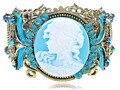 2016 céu azul cameo senhora inspire aqua rhinestone antique bronze big cintura cuff bangle bracelet
