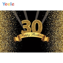 Yeele Happy 30th Birthday Party Gold Dots Celebration Poster Photography Backdrops Photo Backgrounds Photocall Studio