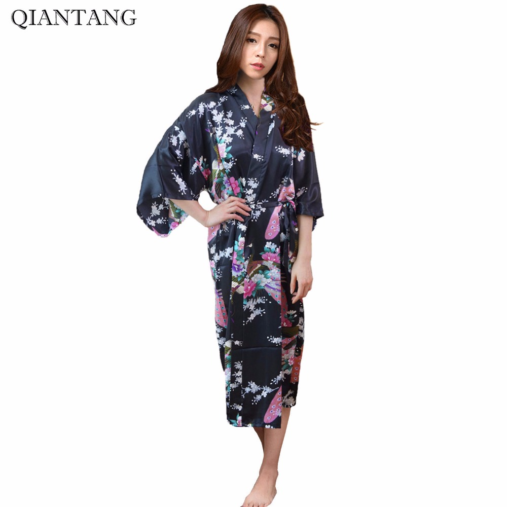 Plus Size Fashion Ladies Summer Kimono Long Bath Robe Gown Black Chinese Womens Rayon Yukata Nightgown Pijama Mujer Msf004