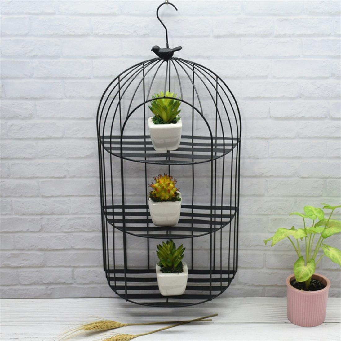 Birdcage Planter: New Nordic Style Birdcage Wall Flower Pot Storage Shelf