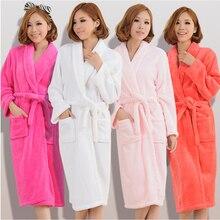 Mulheres homens flanela banho robe sleepwear 2020 outono inverno sólido de pelúcia casal roupão grosso quente feminino robe dropshipping