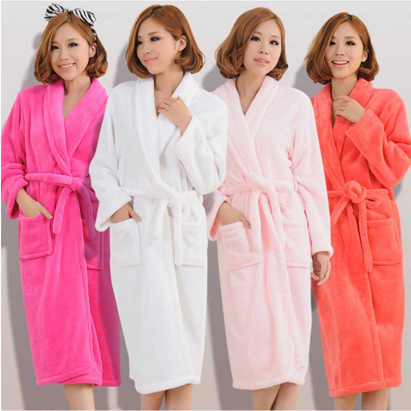 Women Men Flannel Bath Robe Sleepwear 2018 Autumn Winter Solid Plush Couple Bathrobe Thick Warm Female Robe Dropshipping